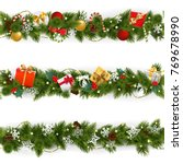 vector christmas border set... | Shutterstock .eps vector #769678990