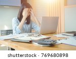 businesswoman under terrible... | Shutterstock . vector #769680898