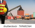 businessman stand on front... | Shutterstock . vector #769681564