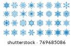 set of 32 decorative blue... | Shutterstock .eps vector #769685086