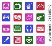 entertainment icons. white flat ... | Shutterstock .eps vector #769685740