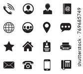 contact icons. black flat... | Shutterstock .eps vector #769685749