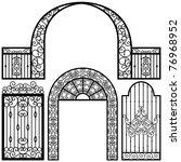 entrance gate door fence... | Shutterstock .eps vector #76968952