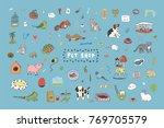 pet shop animals cute cartoon... | Shutterstock .eps vector #769705579