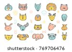 cute animal faces set. hand... | Shutterstock .eps vector #769706476