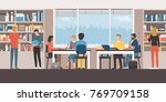 group of people studying... | Shutterstock .eps vector #769709158