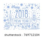 happy new 2018 year horizontal... | Shutterstock .eps vector #769712104