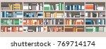 colorful books on shelves in... | Shutterstock .eps vector #769714174