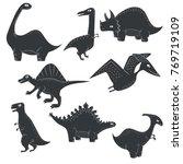 vector dinosaur silhouette dino ... | Shutterstock .eps vector #769719109
