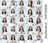 collage of beautiful girl with... | Shutterstock . vector #769720390