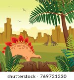 brontosaurus and green fern.... | Shutterstock .eps vector #769721230