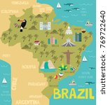 illustration map of brazil with ... | Shutterstock .eps vector #769722640
