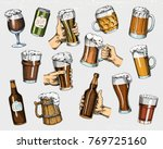beer glass  mug or bottle of... | Shutterstock .eps vector #769725160
