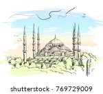 sketch of blue mosque... | Shutterstock .eps vector #769729009