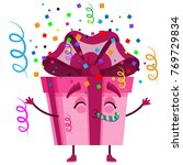 holiday gift box character in... | Shutterstock .eps vector #769729834