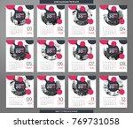 calendar 2018 template   12... | Shutterstock .eps vector #769731058