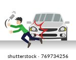 cartoon a man hit by a car... | Shutterstock .eps vector #769734256