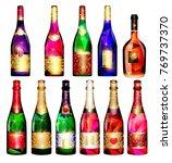 set of decorative wine bottles | Shutterstock .eps vector #769737370
