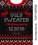 ugly sweater merry christmas... | Shutterstock .eps vector #769738900