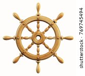 Ship Wheel Isolated On White...