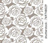 white bold roses stencil vector ... | Shutterstock .eps vector #769748029