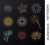 set of isolated fireworks  fire ... | Shutterstock .eps vector #769755094