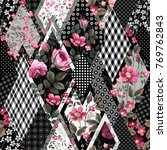 seamless floral patchwork... | Shutterstock .eps vector #769762843