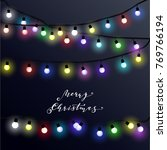 christmas lights  vector... | Shutterstock .eps vector #769766194