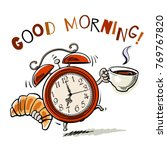 cartoon alarm clock with cup of ... | Shutterstock .eps vector #769767820