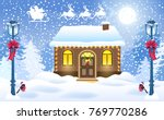 christmas card with brick house ... | Shutterstock .eps vector #769770286