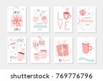 Stock vector set of cute ready to use gift romantic postcards with penguins gifts hearts cups and magic 769776796