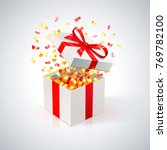 white gift box with red ribbon...   Shutterstock .eps vector #769782100