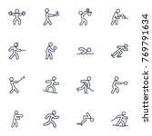 set of 16 fitness outline icons ... | Shutterstock .eps vector #769791634