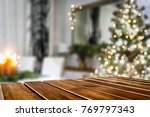 desk space and christmas time  | Shutterstock . vector #769797343