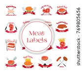 meat  chicken  sausage labels... | Shutterstock . vector #769805656