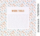 work tools concept with thin... | Shutterstock .eps vector #769809454