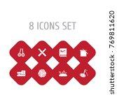 set of 8 handcraft icons set...   Shutterstock .eps vector #769811620