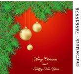 christmas background with fir...   Shutterstock .eps vector #769819978