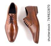 male brown leather elegant shoe ...   Shutterstock . vector #769822870