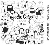 Stock vector hand drawn vector illustrations of cats characters sketch style doodle 769823788