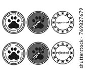dog paw sign stamp  approved...   Shutterstock .eps vector #769827679