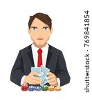 young tuxedo casino guy   Shutterstock .eps vector #769841854