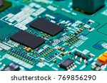 electronic circuit board close... | Shutterstock . vector #769856290