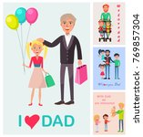 i love dad  poster of standing... | Shutterstock . vector #769857304