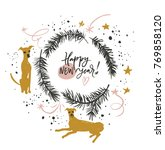 happy new year of dog. greeting ... | Shutterstock .eps vector #769858120