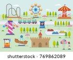 amusement park vector landscape | Shutterstock .eps vector #769862089
