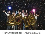 new 2018 year is coming  group... | Shutterstock . vector #769863178