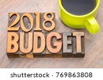 2018 budget word abstract in... | Shutterstock . vector #769863808