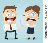 woman telling man that she is... | Shutterstock .eps vector #769864144