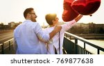 beautiful couple in love at... | Shutterstock . vector #769877638